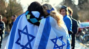 Israel Flags Hugging